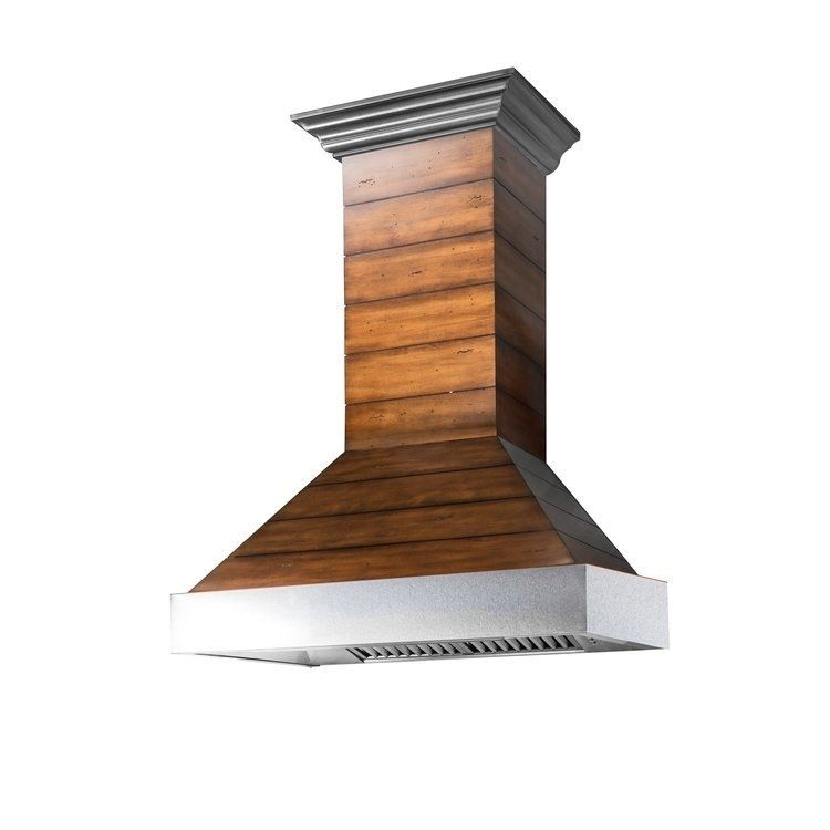 Zline 36 In Shiplap Wooden Wall Range Hood With Stainless Steel Accent Includes Motor 365bb 36 Range Hood Stainless Steel Range Hood Wooden Walls