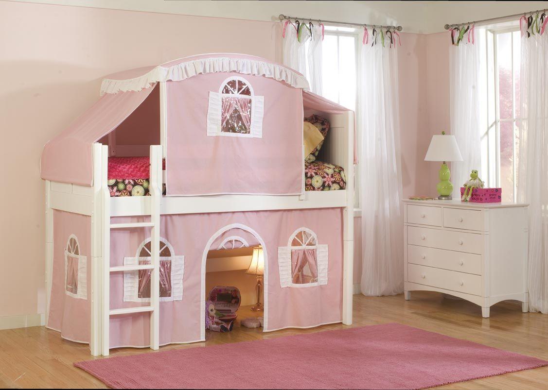 Girls loft bed with slide  pink cottage bed pink cottage childus bed  Cottage Interiors