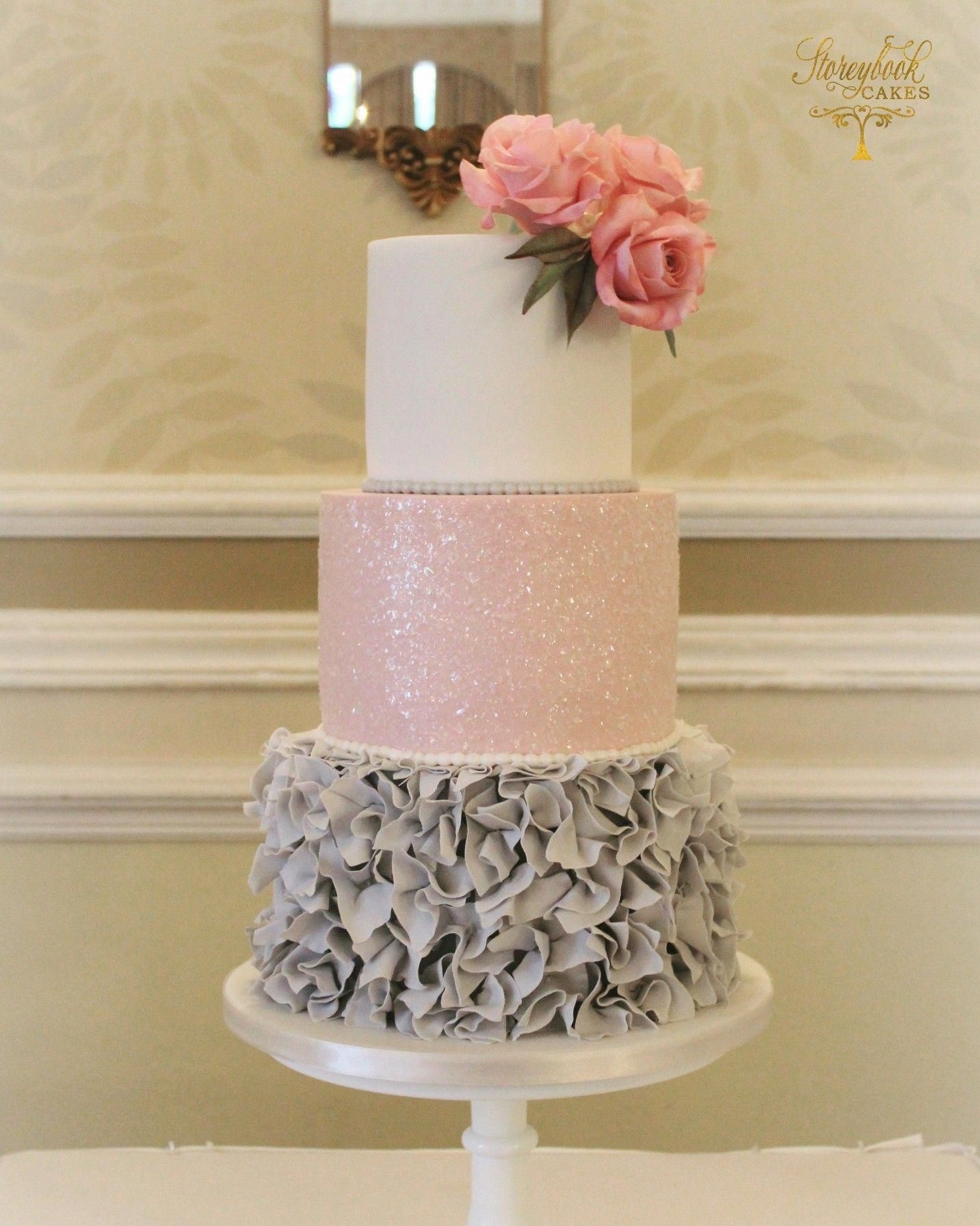 Grey ruffles and pink glitter wedding cake weddingcakes