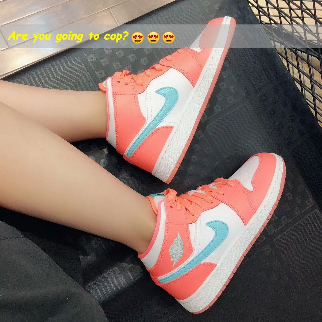 1774149438ca6 88 Air Jordan 1 Mid GG 'Crimson Pulse' Sneakers Orange Light Aqua ...
