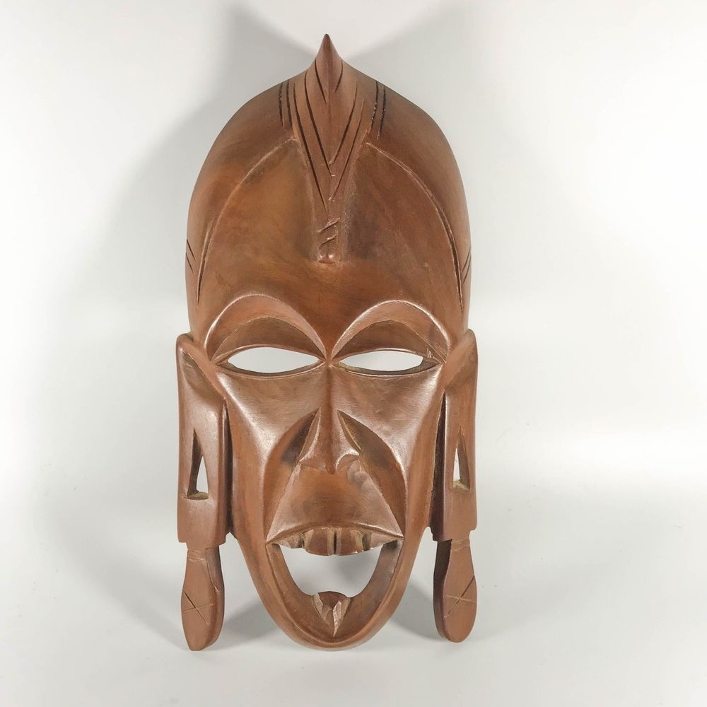 vintage African Tribal Wooden Mask Hand Carved Wall Hanging