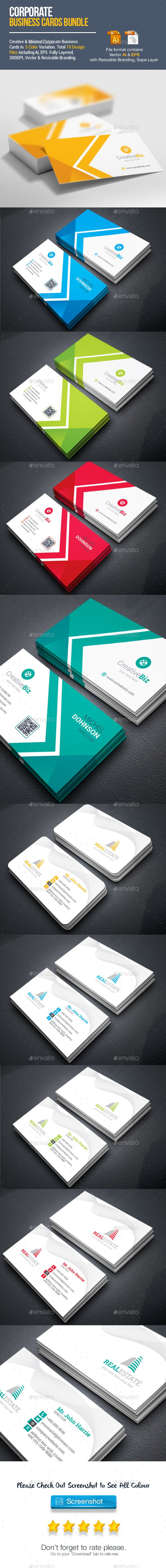 Business Cards Template Vector EPS, AI Illustrator Bundle ...
