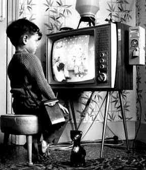 watching black and white   small screen television