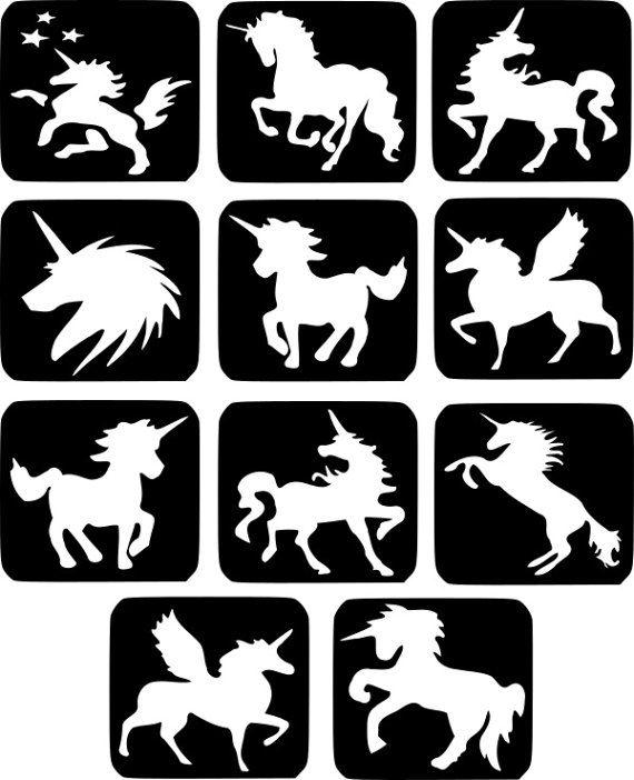 Refill Stencils Only 26 11 X Unicorn Glitter Tattoo
