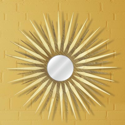 Metal Art Studio Sunburst Wall Mirror Finish Natural Maple