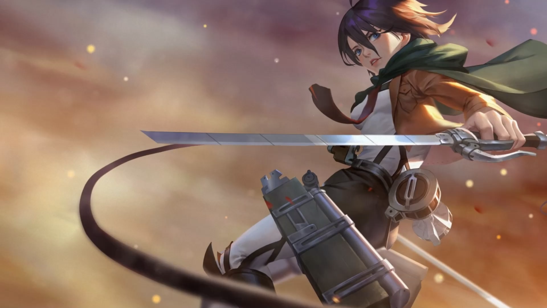 Video Mikasa Anime Wallpaper Gambar Bergerak Fotografi Hujan Gadis Animasi