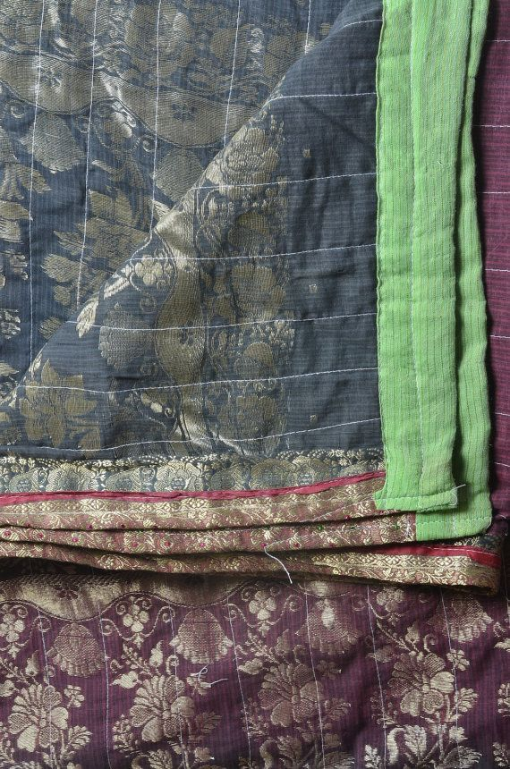 Vintage indian kantha grey maroon zari