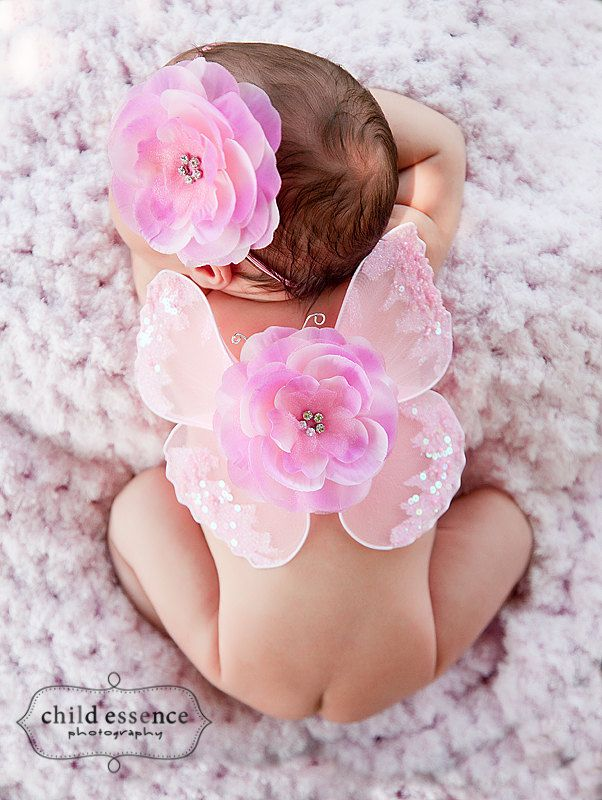 baby headband and butterfly wings set  newborn photo prop light pink butterfly -   jeweled sequined rhinestone flowers ready to ship today