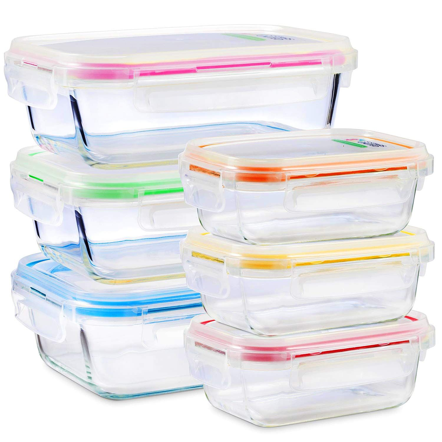 Glass Food Storage Containers With Lids 6 Pack 2 Sizes 35 Oz 12 Oz Meal Prep L Glass Food Storage Containers Glass Food Storage Food Storage Containers