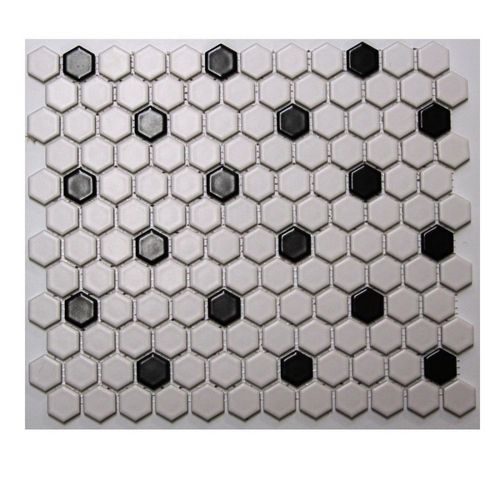 Zoomed American Olean 10 Pack 12 X 12 Satinglo Hex White Black Ceramic Floor Tile Best Bathroom Flooring Tile Floor Bathroom Floor Tiles