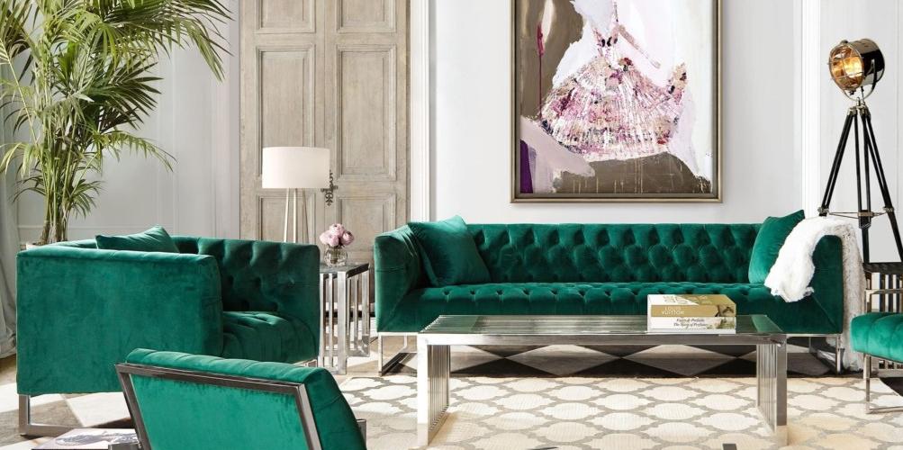 Crawford Sofa And Chair Set By Diamond Sofa Green Sofa Emerald