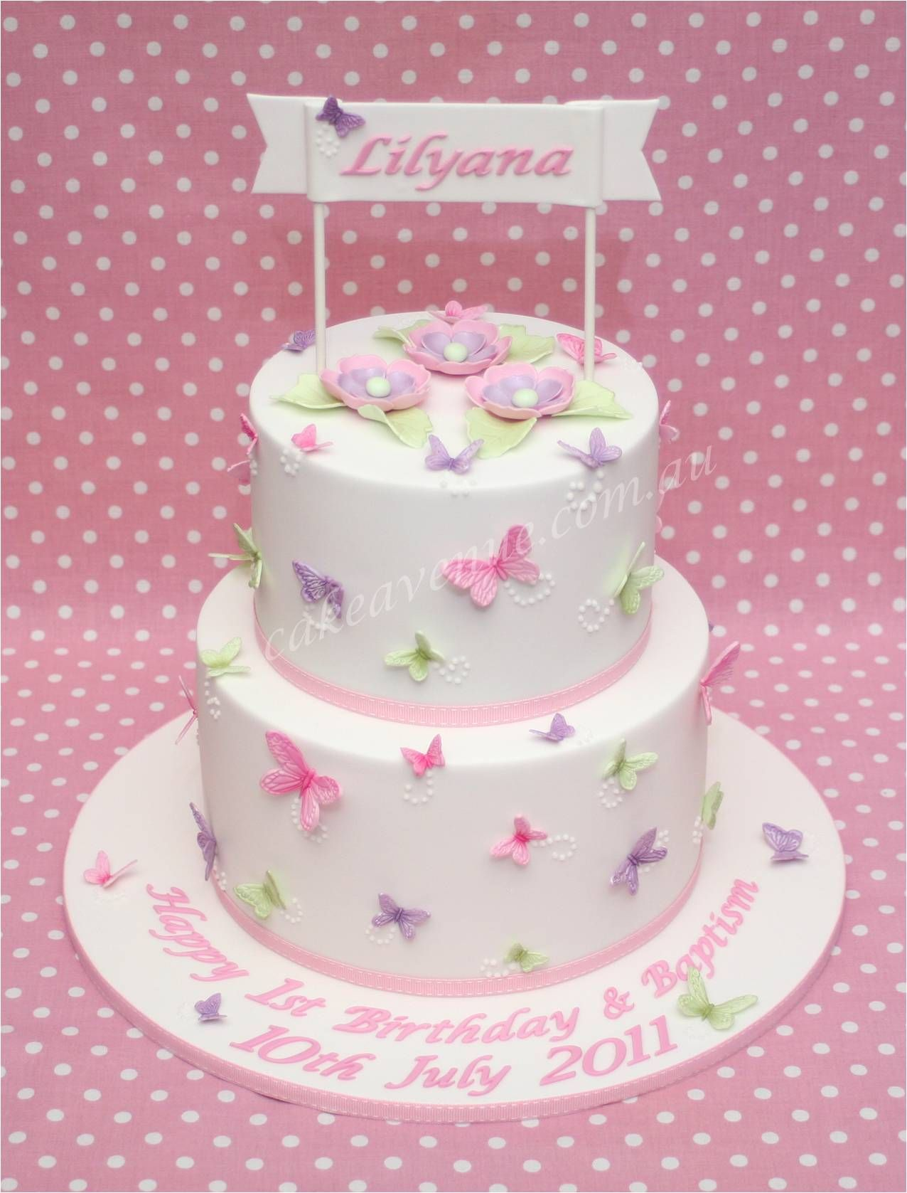 Pastel Butterfly Cake with edible butterflies and flowers ...