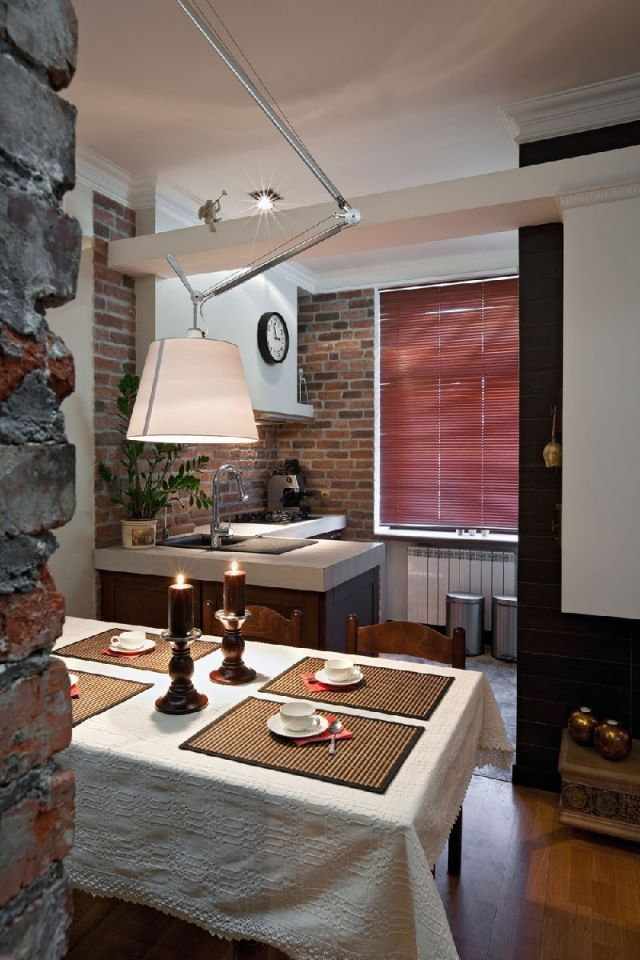 wandfarbe küche unverputzte ziegelwand weiß rustikal Einrichten - wandfarbe fr kche