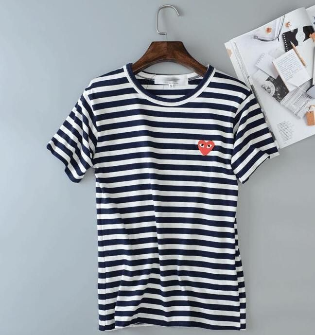 169b40092b88 Mens Comme Des Garcons Cdg Play Classic Striped Red Heart Short Sleeve T- Shirts