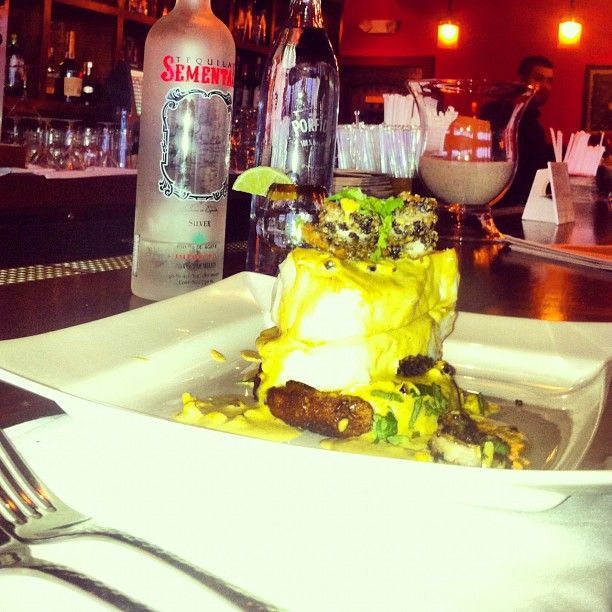 12-7-12: #special besito Roslyn: #Pescado al Horno ~ pan roasted Chilean Sea #Bass over sweet corn cake........