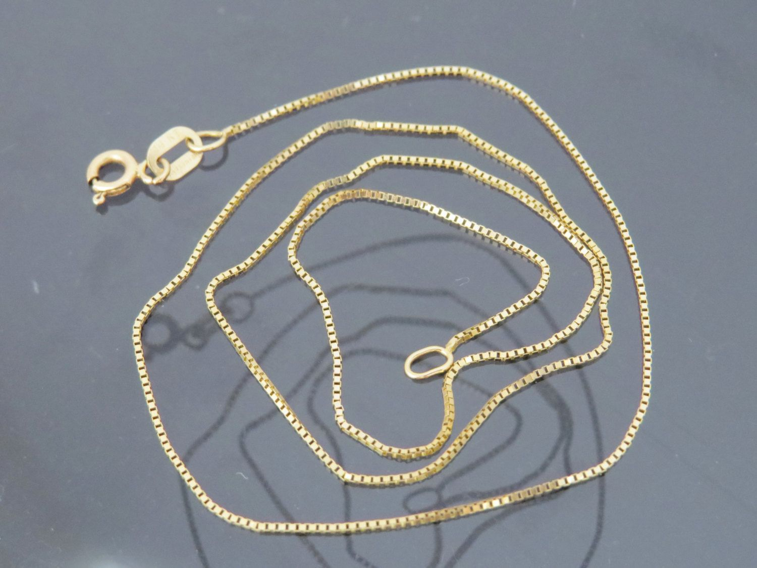 14k gold box chain Necklace Square cube Italy made european geometric link 1.31  mm wide 20 inch long womens vintage fine jewelry