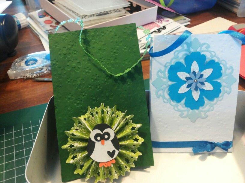 Kado zakjes van enveloppen gemaakt. Nodig big shot, simpele envelop, lintje en versiering.