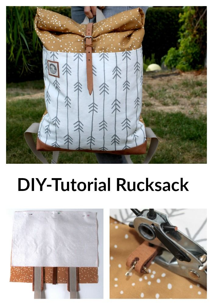 DIY Tutorial Rolltop Rucksack mit Spoonflower Stoff #diytutorial