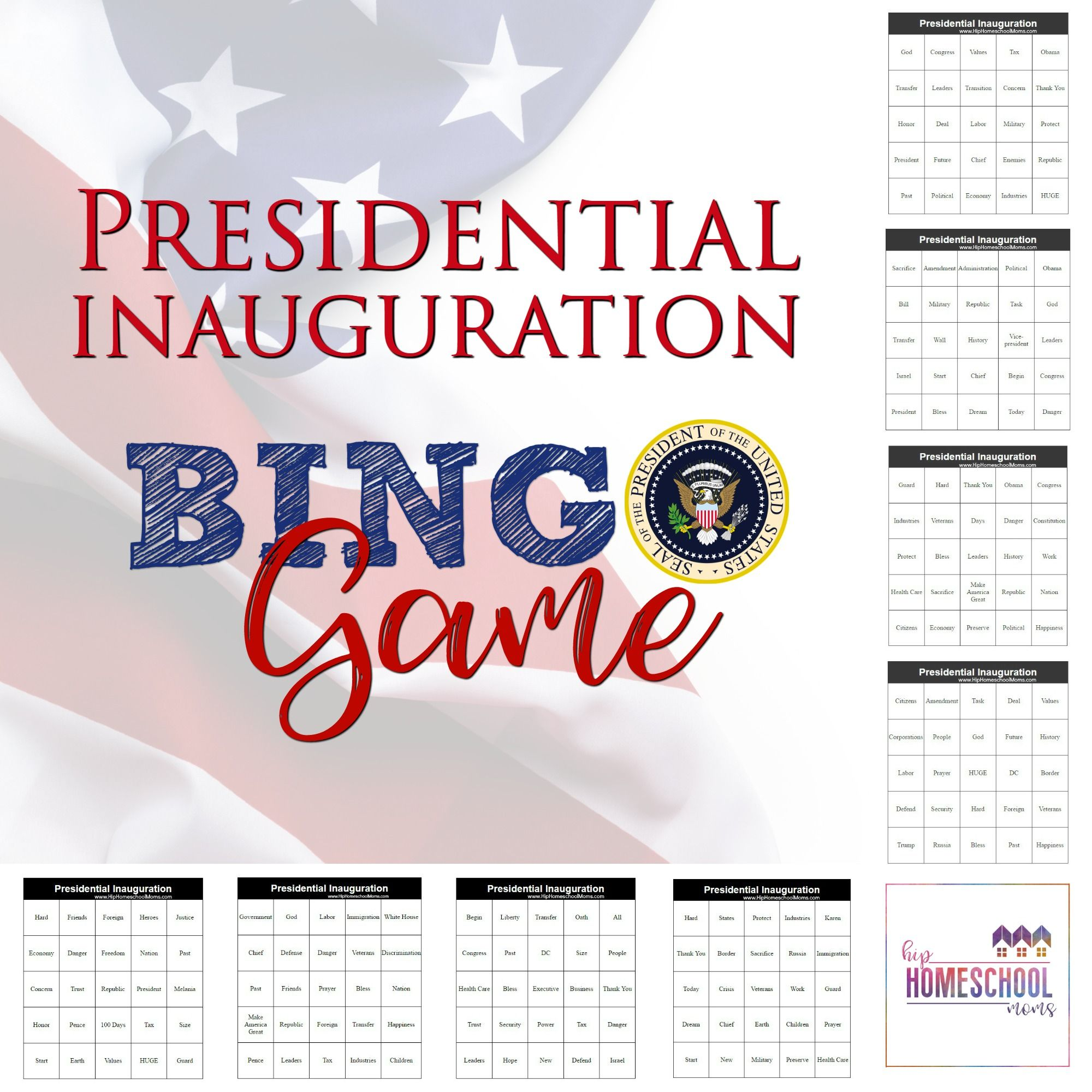 Presidential Inauguration Bingo Game Printable