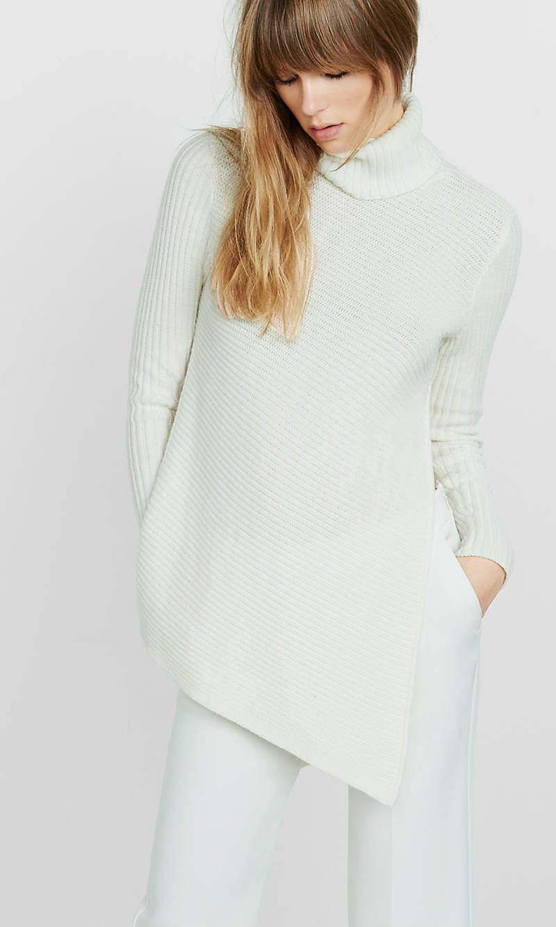 Mixed Knit High Slit Turtleneck Sweater | Express | Sweater ...