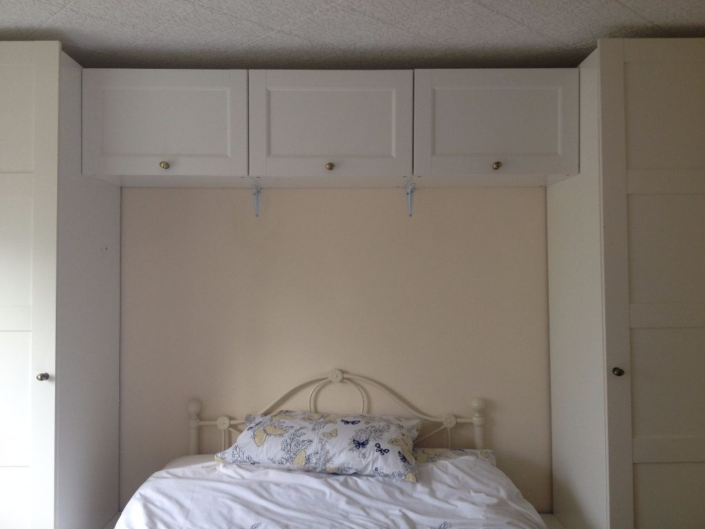 IKEA White Pax Over-bed Wardrobe and Cupboard Storage  Bedroom