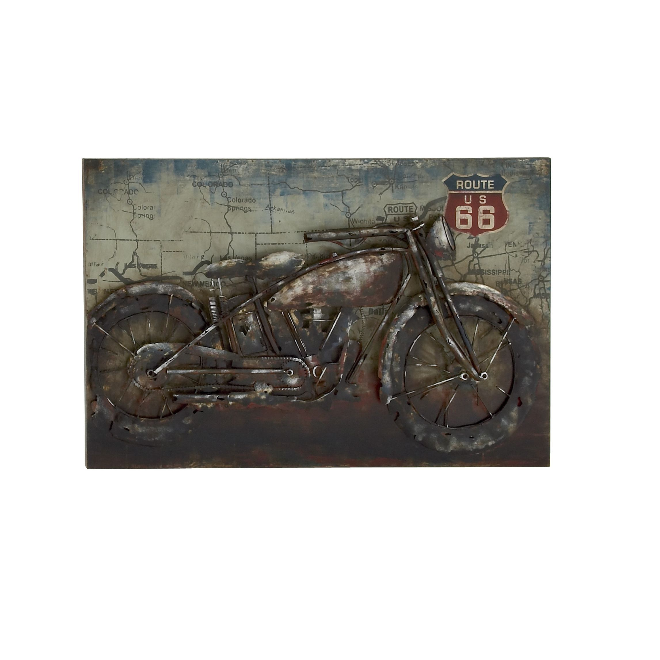 Abstract Route 66 Metal Motorcycle Wall Decor By Studio 350 Wall Decor