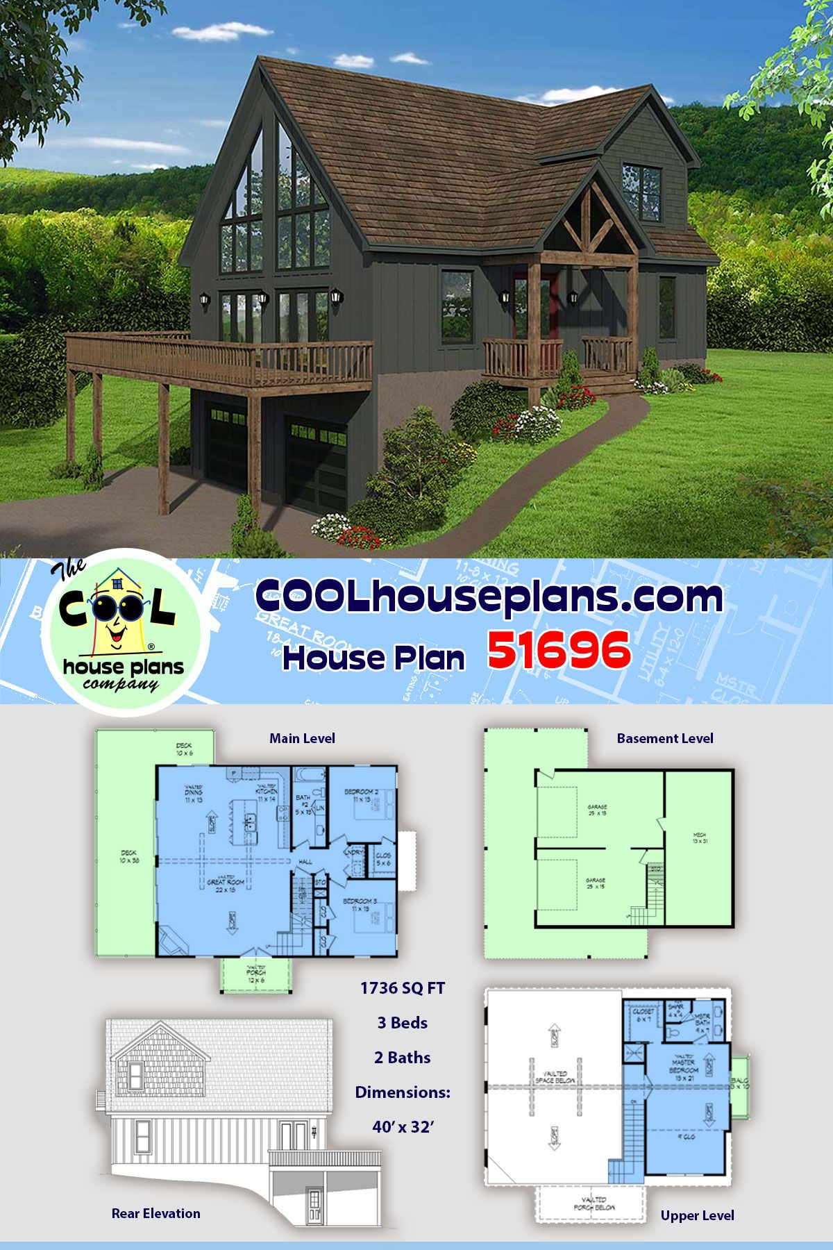 Craftsman Style House Plan 51696 With 3 Bed 2 Bath 2 Car Garage Craftsman Style House Plans Sloping Lot House Plan House Plans