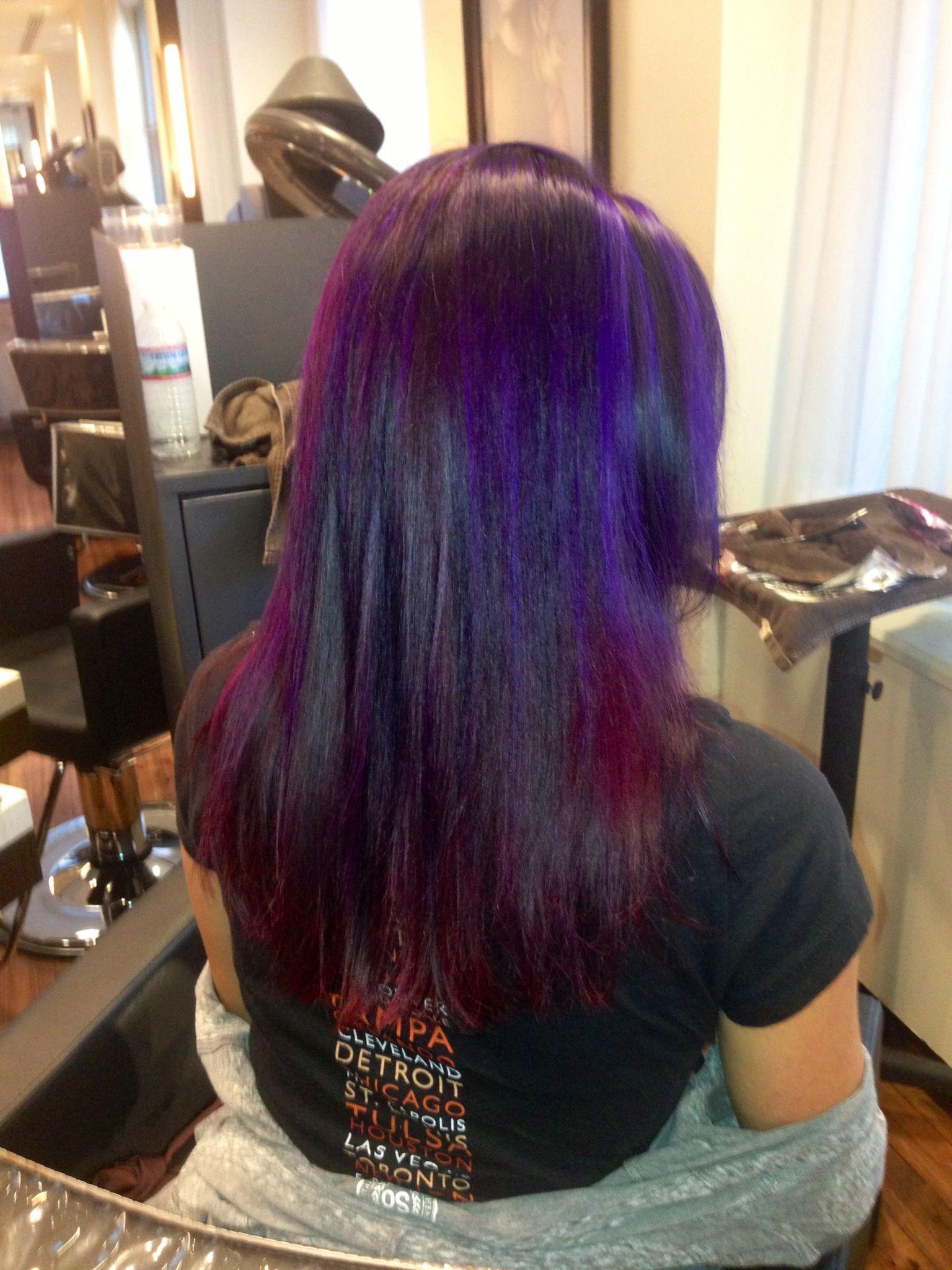 Color By Micah Sawinski Purple And Pik Hair Purple Highlights