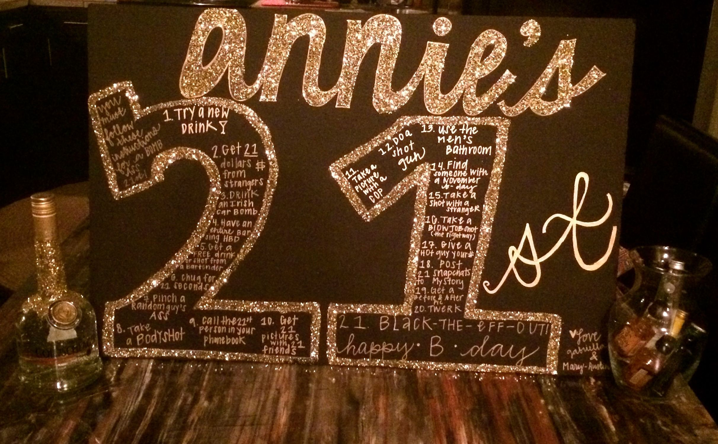 #glitterlots #celebrate #sharpies #birthday #modpodge #glitter #friend #poster #board #black #close #craft #gold #lots #sign21st Birthday Sign! black poster board, gold sharpies, modpodge, and GLITTER...lots and lots of gold glitter! An easy craft to celebrate a 21st birthday for a close friend. #21stbirthdaysigns