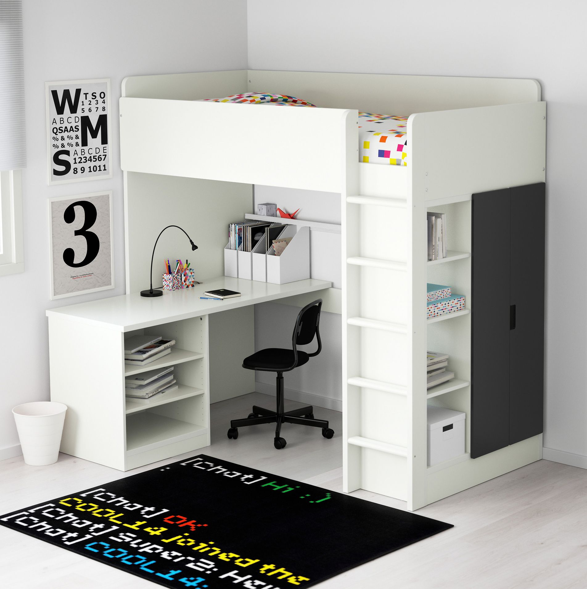 Gray loft bed with desk   Full Size Modern Loft Beds for Your Tiny Apartment u Annual Guide