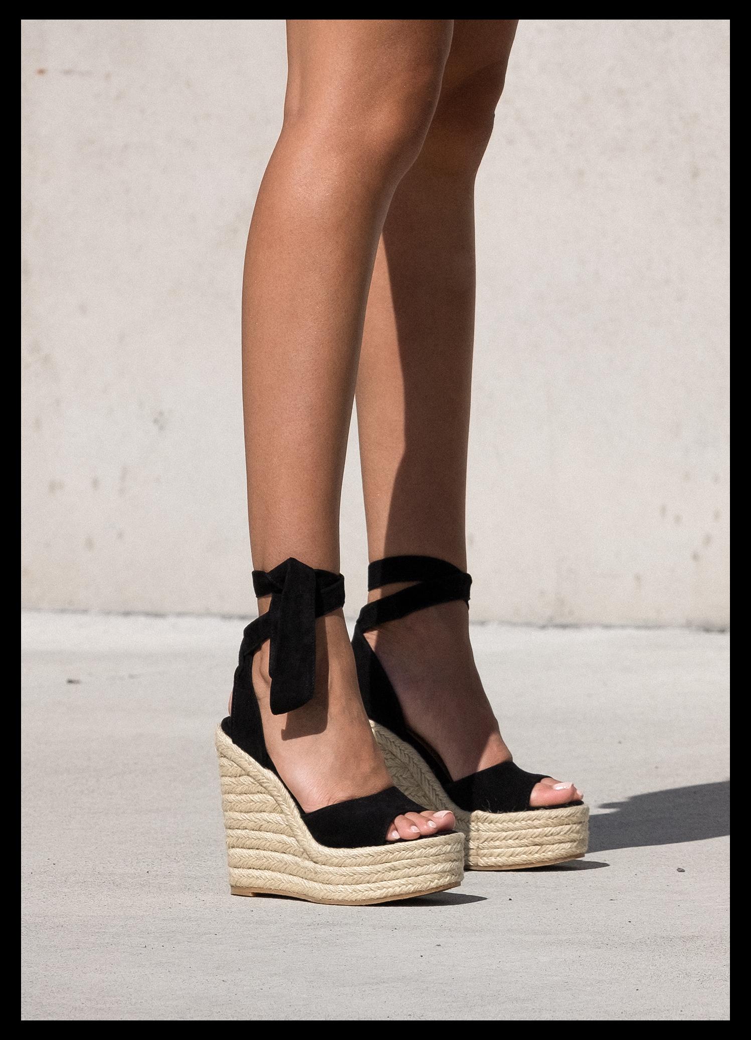 Barca Black Kid Suede Wedges Black Sandal Wedges Outfit Blacksandalwedgesoutfit In 2021 Girly Shoes Shoes Cute Shoes Heels [ 2072 x 1498 Pixel ]