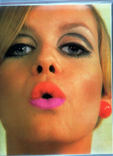Twiggy with day-glo lips