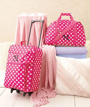 1625093985a9 Travel in style with this 3-Pc. Girls  Monogram Luggage Set. The adorable  pink polka dot design will make your bag stand out wherever you take it and  your ...