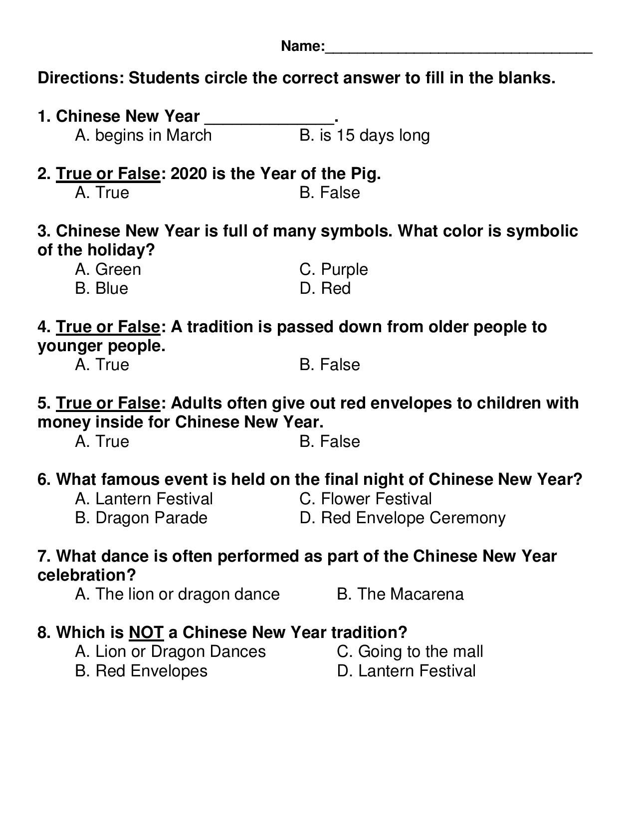 Chinese New Year Comprehension Passage Amp Quiz