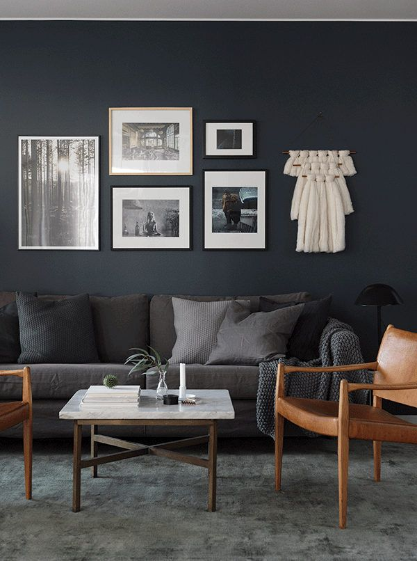 Living Rooms With Dark Gray Walls Ideas For Room Over To The Side In A Swedish Space Wall Works It S No Secret That Interiors Are Becoming More And Focus This Elegant Apartment Has Been Artfully Home Staged Sa