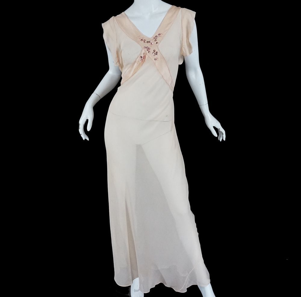 Vintage s made in france silk maxi dress long bias gown