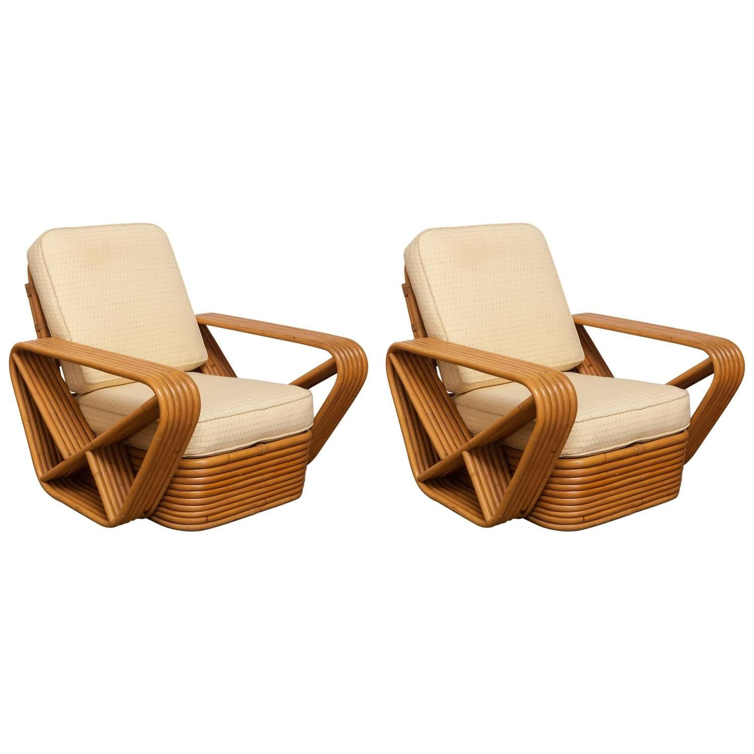 Pair Of Six Strand Pretzel Lounge Chairs By Paul Frankl
