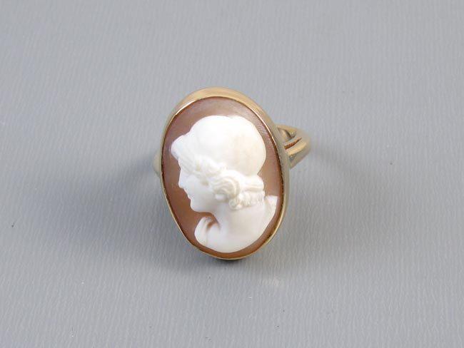 Antique Edwardian 14k gold shell cameo high profile ring by SundayandSunday on Etsy