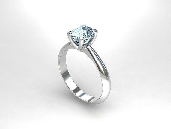 Aquamarine Ring Engagement White Gold Solitaire Blue Birthstone Unique