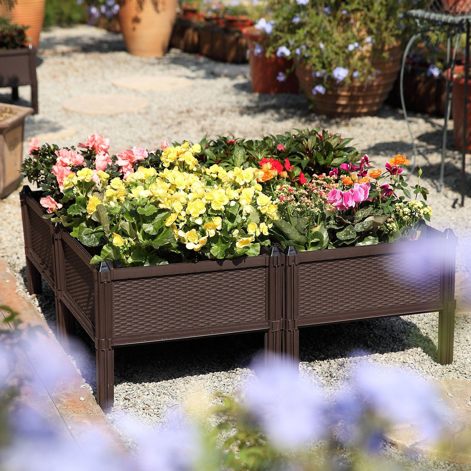 T4u Plastic Raised Garden Bed Brown Set Of 4 Assemble Elevated