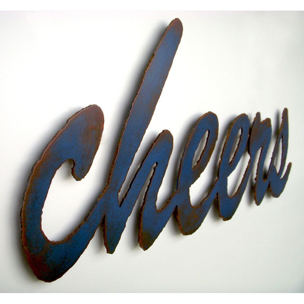 "Metal Sign Wall Decor Endearing Cheers Bar Sign Wall Art  34"" Wide  Metal Sign Blue Rust Patina Design Ideas"