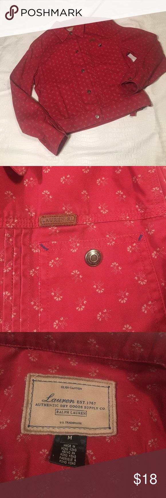 Lauren by Ralph Lauren Jacket Lauren by Ralph Lauren Red with Beige Colored Floral Print Size Medium Jean Jacket Lauren Ralph Lauren Jackets & Coats Jean Jackets