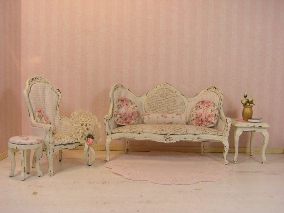 One Inch Scale Shabby Chic French Living Room Set Sofa Side Chair Fottrest