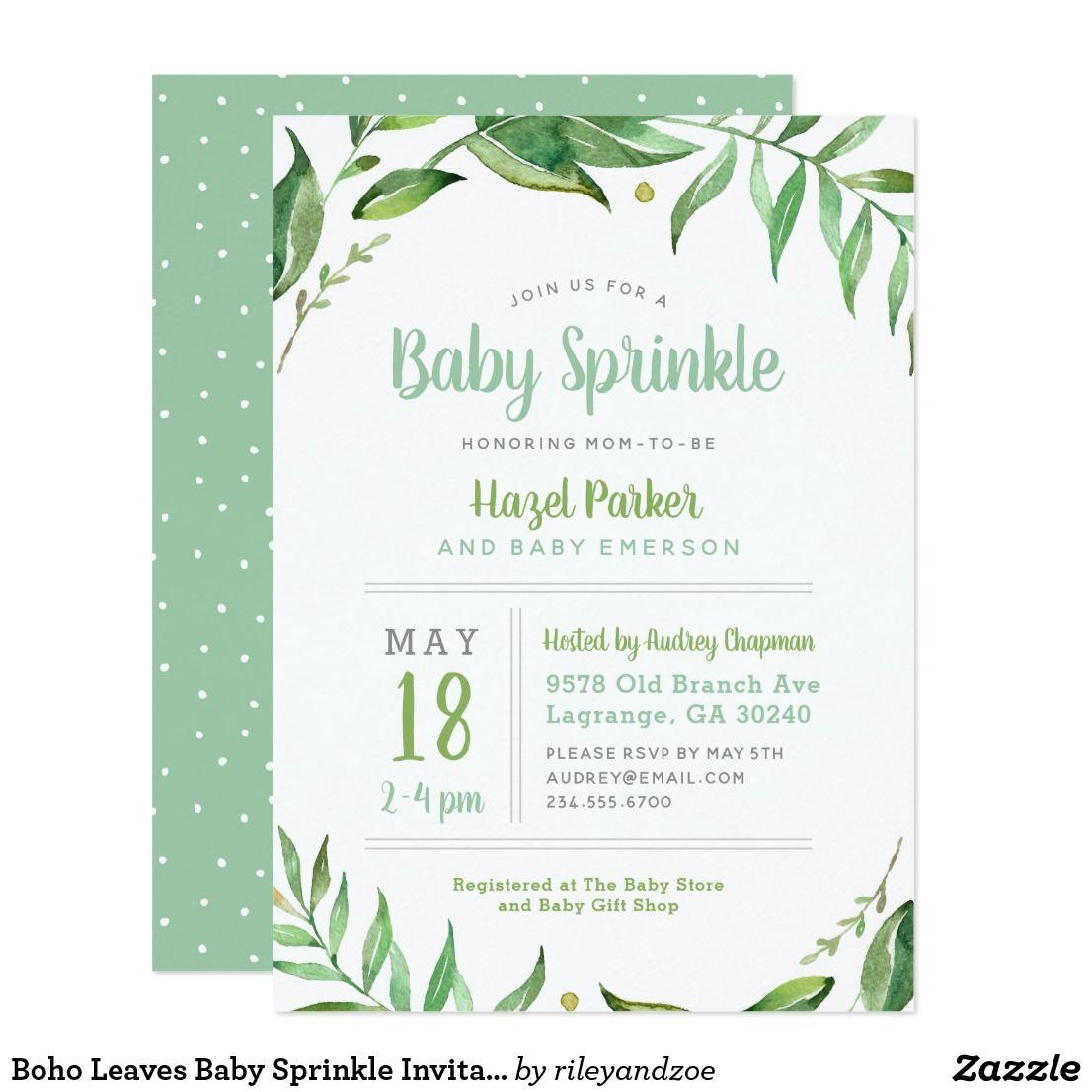 Boho leaves baby sprinkle invitation baby