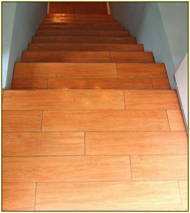 Wood Look Porcelain Tile On Stairs Schody Płytki