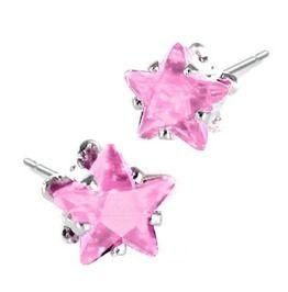 Cool! Pink Star Diamante Design 925 Silver Earrings