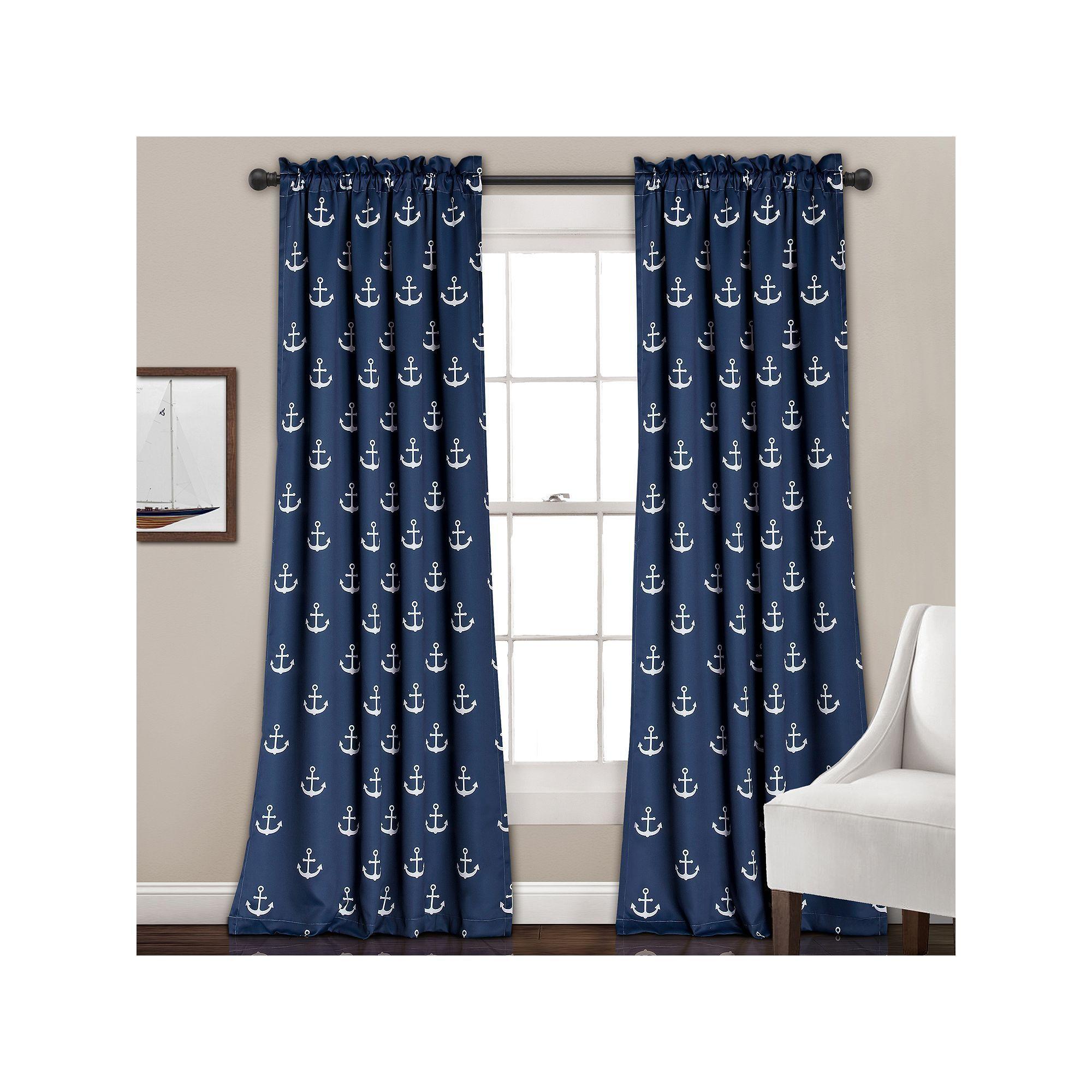 Half Moon 2 Pack Anchor Curtain Blue