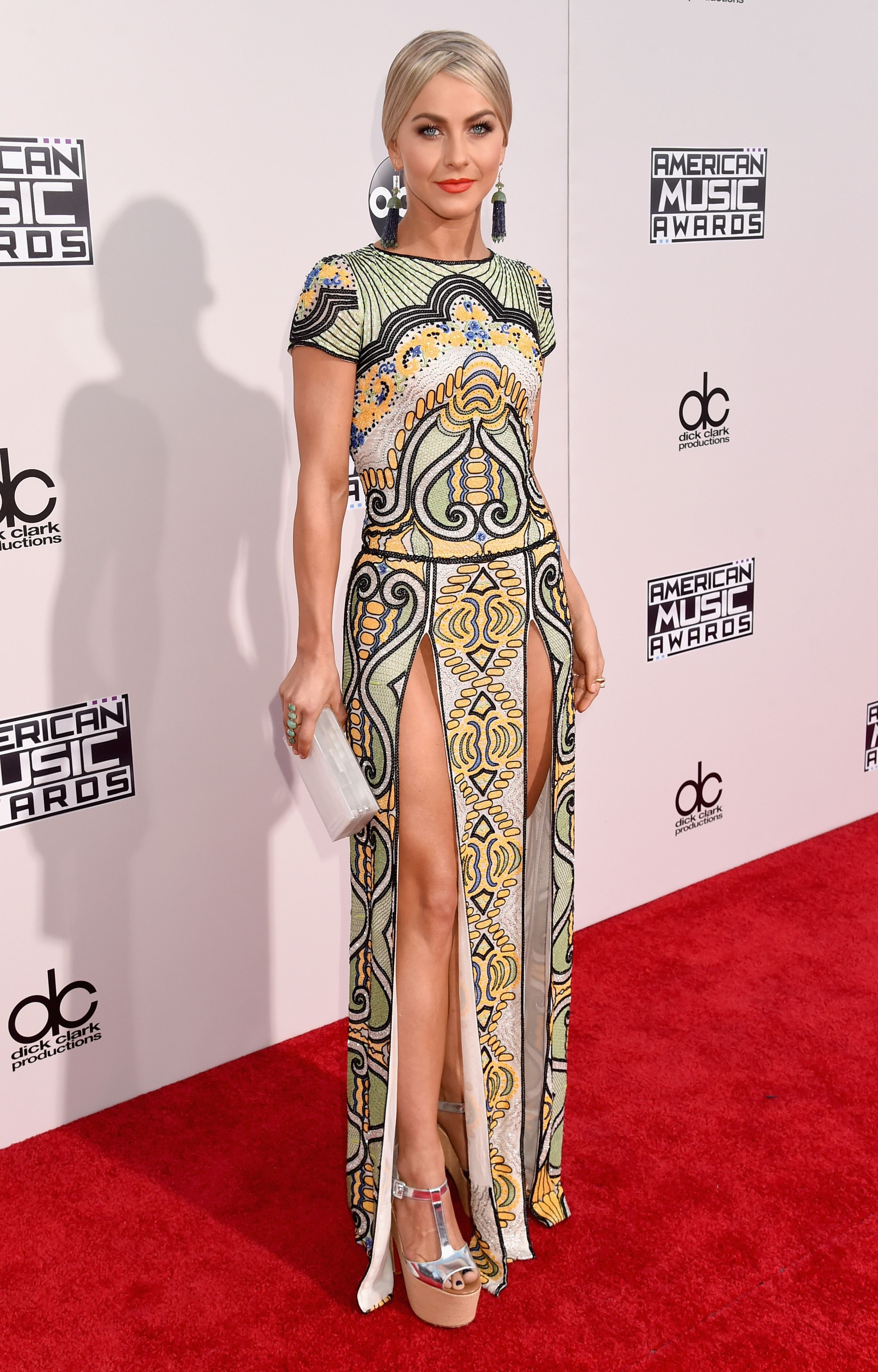 In Naeem Khan. No good in my book. Those slits are way too high