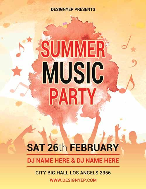 Summer Music Party Free PSD Flyer Template - http\/\/freepsdflyer - summer flyer template