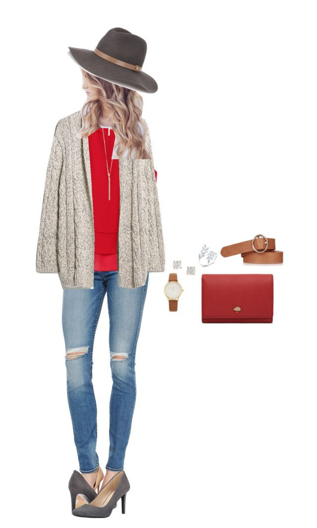 """Outfit #9"" by aimee-bowen-1 ❤ liked on Polyvore featuring 7 For All Mankind, Nine West, Violeta by Mango, Topshop, rag & bone, Anita Ko, Kate Spade and Mulberry"